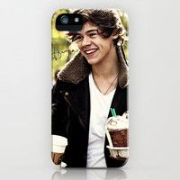 Harry Styles One Direction Starbucks iPhone Case by Toni Miller   Society6