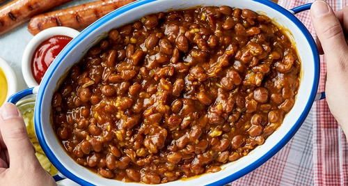 Quick And Easy Baked Beans Recipe Recipe Easy Baked Beans Simple Baked Beans Recipe Campbells Soup Recipes