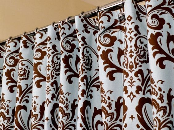 French Blue & Brown Shower Curtain in Damask Pattern sized 72