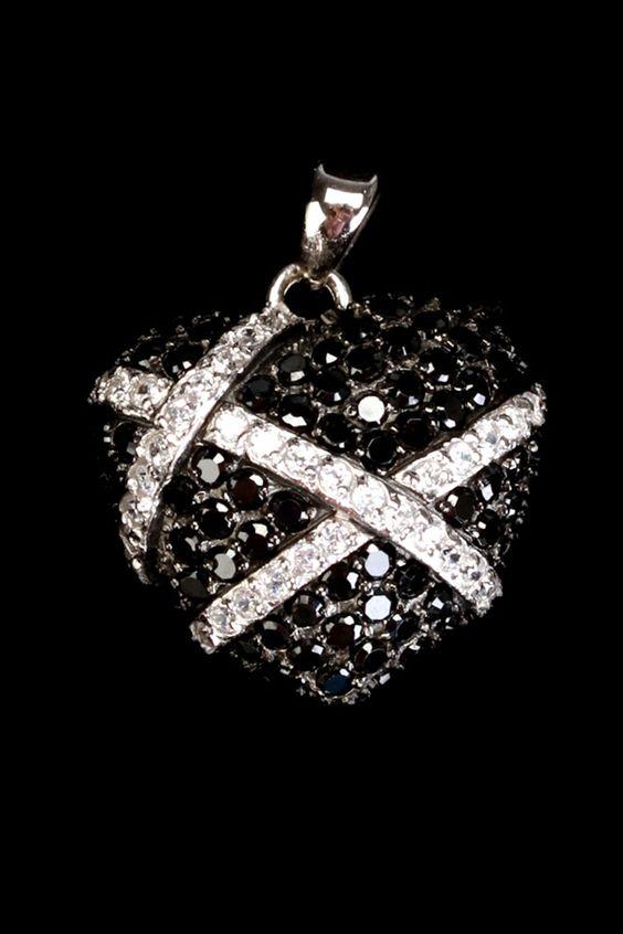 Sephora Jewelers  Sterling Silver, Black & White Zirconia Heart Pendant  $70.00