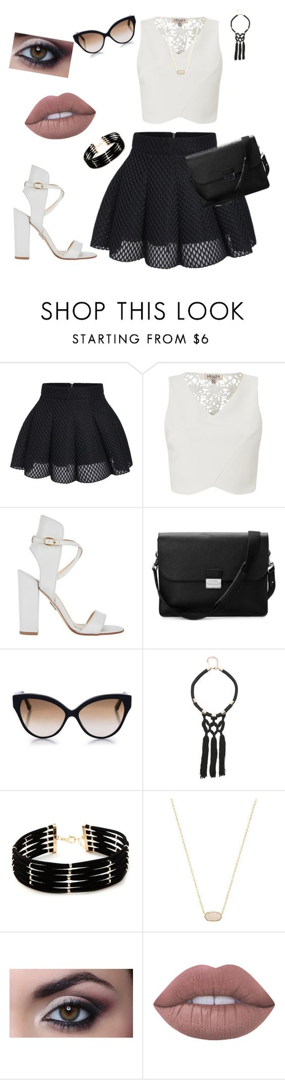 """""""schwarz und weiß"""" by mara-velisek on Polyvore featuring Lipsy, Paul Andrew, Aspinal of London, Cutler and Gross, Bebe, Forever 21, Kendra Scott and Lime Crime"""