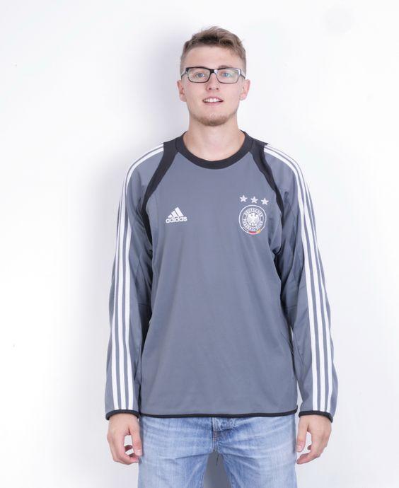 Adidas Deutscher Fussball-Bund Mens 46/48 2XL Shirt Long Sleeve Grey Football Club Germany