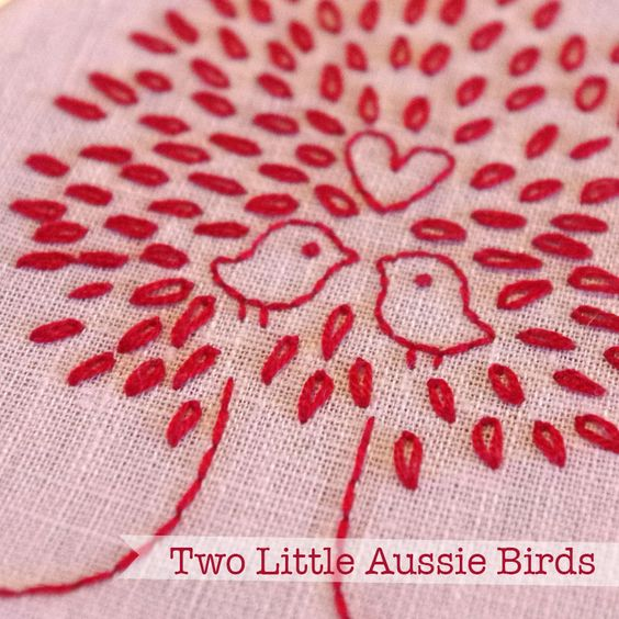 free pattern: love birds embroidery