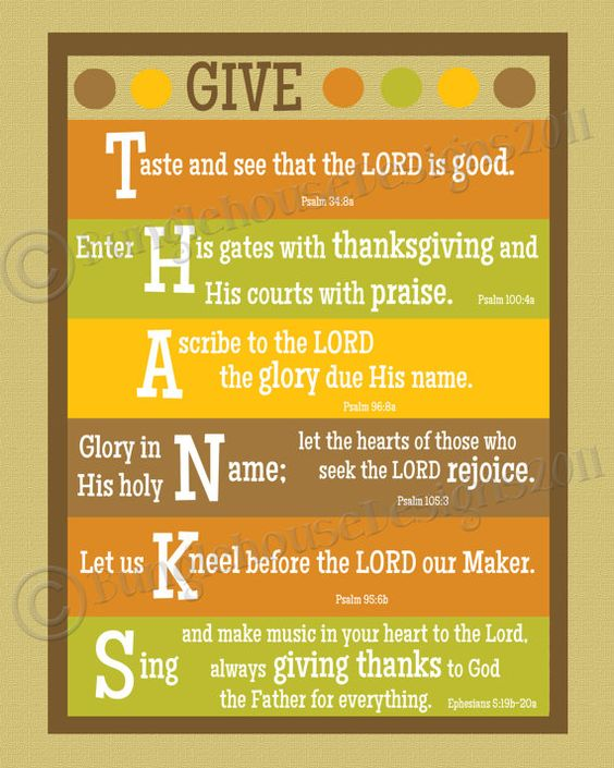 Give Thanks Thanksgiving Printable Wall Art DIY PRINTABLE 8x10 Thanksgiving Scripture Bible Verse Poster. $12.00, via Etsy.