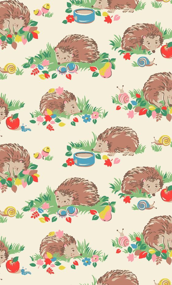 Hedgehogs | From Sausage Dogs to Garden Gnomes, everyone loves our cute character prints! Our shy, spiny little friends are joined by colourful autumn fruits and foliage in this latest addition to the collection | Cath Kidston Autumn Winter 2016 |