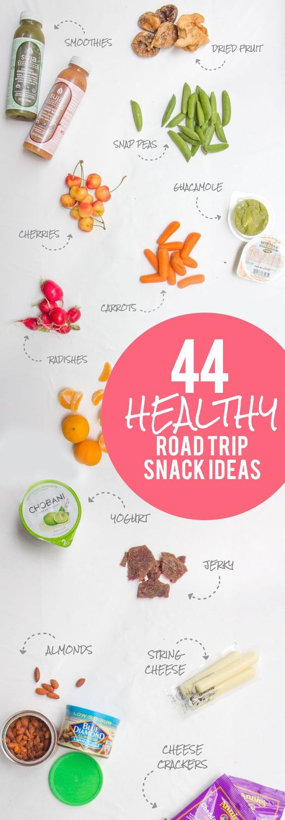 44 Healthy Road Trip Snack Ideas #ad With all of the Holiday Road Trips to see family this time of year, this will be a super helpful pin to have on your boards! Lots of (healthy) snack ideas for your next road trip! Click through to see the list. Back To Her Roots