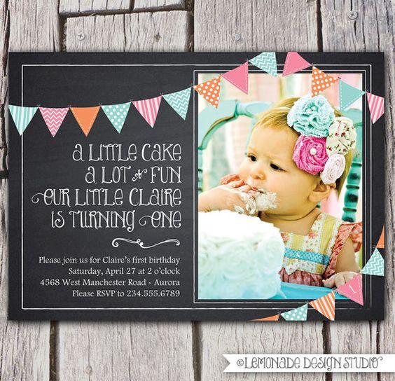 First Birthday Invitation, Chalkboard Invitation, Bunting