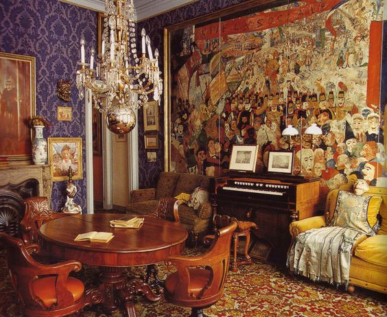 Apartment of painter James Ensor. Ostend, Belgium. Pinned this for the rich color palette. No surprise that he has a good eye for color.