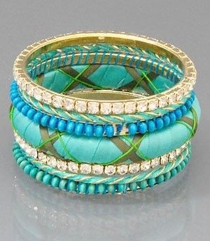 Crystal Deco Fabric and Multi Stackable Bangle Bracelet Set in Turqoise
