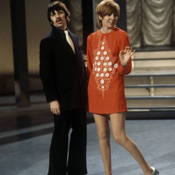 """Beatle Ringo Starr and Cilla Black on the set of her telly show """"Cilla"""", 1968"""