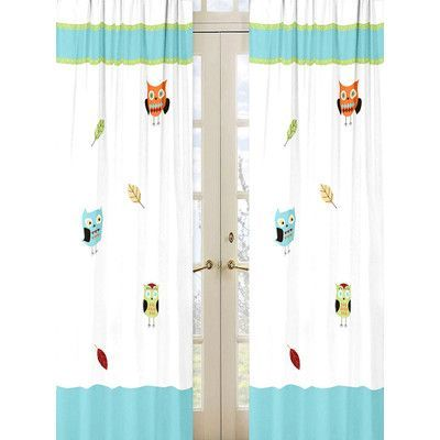 Sweet Jojo Designs Hooty Turquoise and Lime Cotton Curtain Panels