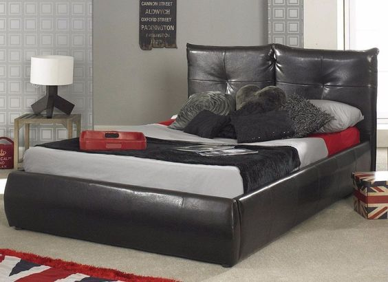 Epsilon White Faux Leather Bed Frame Leather bed frame Bed