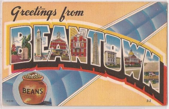 Boston, Mass. Postcard Greetings from BEANTOWN Large Letter Linen c1940s Unused