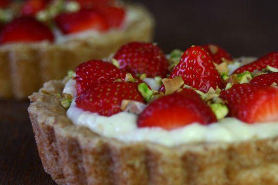 Erdbeertörtchen Vanillepudding Mürbeteig