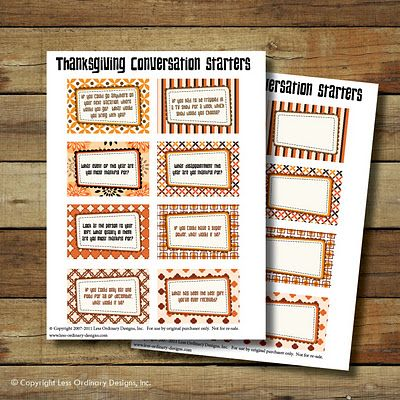 Thanksgiving Conversation Starters . . . FREE printables