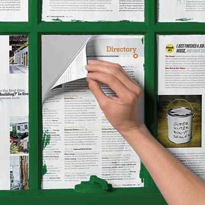 Use Old Magazines to Keep Glass Paint-Free  Who needs tape? Before painting window muntins, wet the edges of magazine pages and press them onto the panes, edges against the muntins. After painting, the paper peels off easily.