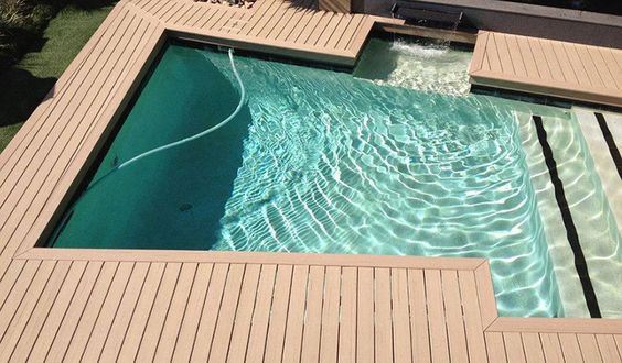 Above ground pool composite deck above ground pool for Composite decking sale