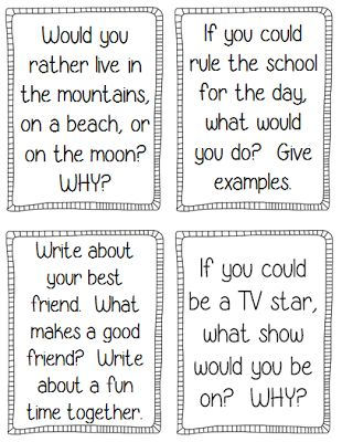 Writing prompts, printables, and fun activities for Back to School!