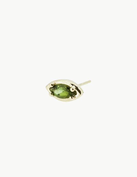 Green Tourmaline Eye Stud by Kathryn Bentley