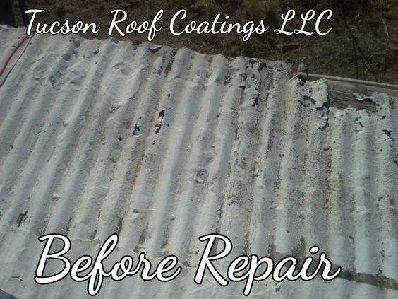 This roof was a corrugated metal ranch house type of roof on a house that was originally done in the early 1900's. There was deteriorated metal at the edge of the roof that we repaired then ran a row of membrane all the way down that edge of the roof to make sure it will last for several more years    Roof Coating Tucson One Roof At A Time  Tucson Roof Coatings LLC 520-314-7811 www.TucsonRoofCoatingsLLC.com  #Roof #Coating #Tucson #Professional #Repair