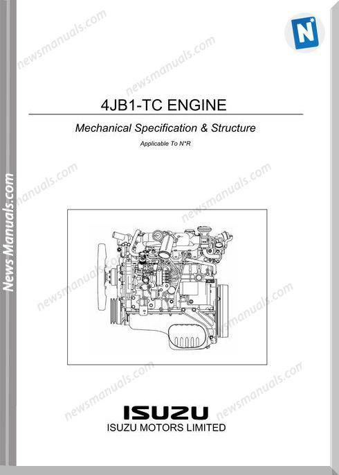 Isuzu 4jb1 Tc Engine Mechanical Specification Structure Engineering Mechanic Repair Manuals