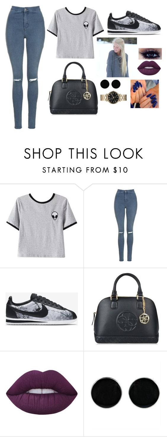 """Sans titre #498"" by nounounette ❤ liked on Polyvore featuring Chicnova Fashion, Topshop, NIKE, GUESS, Lime Crime, AeraVida and Marc by Marc Jacobs"