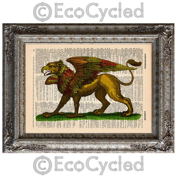 Gryphon Hand Colored on Vintage Upcycled Dictionary Page Book Art Print Recycled Mythical Monster