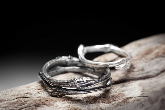 twig wedding bands, sterling silver $155.00, via Etsy.