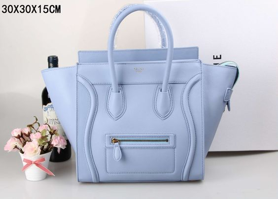 Celine Mini Luggage Handbag in Light Sky Blue Natural Calfskin - $309.99 http://www.lhbon.com/celine-mini-luggage-handbag-in-light-sky-blue-natural-calfskin-p-407.html