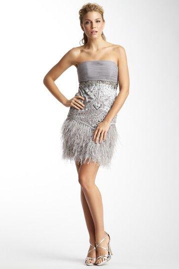 Sue Wong Strapless Feather Fringe Short Dress