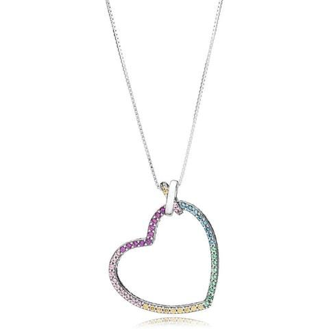 925 Sterling Silver Rainbow Heart Pendant Necklace Necklaces Touchy Style 50cm Touchystyle Necklace For Girlfriend Popular Necklaces Pendant Necklace