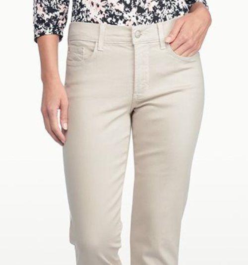 NYDJ stone CROP denim CAPRI rhinestones on leg khaki beige womens ...