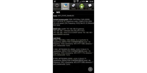 ?System Info for Android? zeigt an, auf welchen Frequenzen das Smartphone WLAN-Gegenstellen erkennt.Falls Sie mit Ihrem Mobilgerät keine Verbindung zum Router herstellen können, ist der erste Lösungsversuch immer, das WLAN am Smartphone oder Tablet über die WLAN-Einstellungen aus-und wieder einzuschalten. Falls dies nichts nützt, starten Sie den Router neu. Schließen Sie außerdem einen Hardwaredefekt des Routers aus, indem Sie die Internetverbindung am PC prüfen.