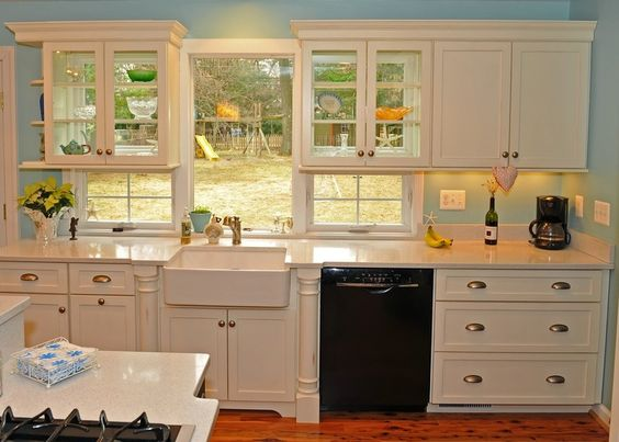 The windows under the cabinets wow traditional for Window under kitchen cabinets