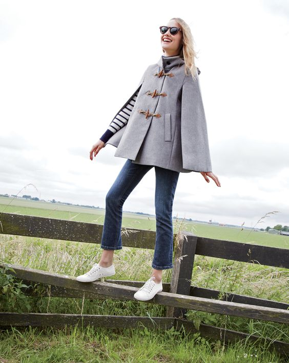 J.Crew Looks We Love: women's toggle cape, ribbed relaxed turtleneck in stripe, Billie demi-boot crop jean in Koby wash, Jane sunglasses and women's Tretorn® canvas T56 sneakers.: