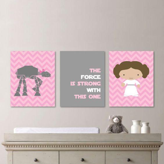 Baby Girl Nursery Print Art Chevron Art por RhondavousDesigns2
