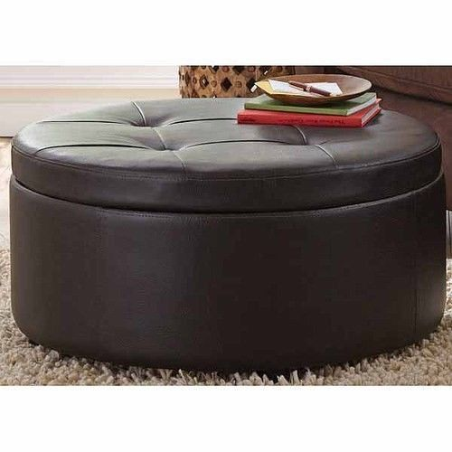 Leather large footstool round storage coffee table ottoman seat bench stool foot daniel 39 s ebay Round ottoman coffee table with storage