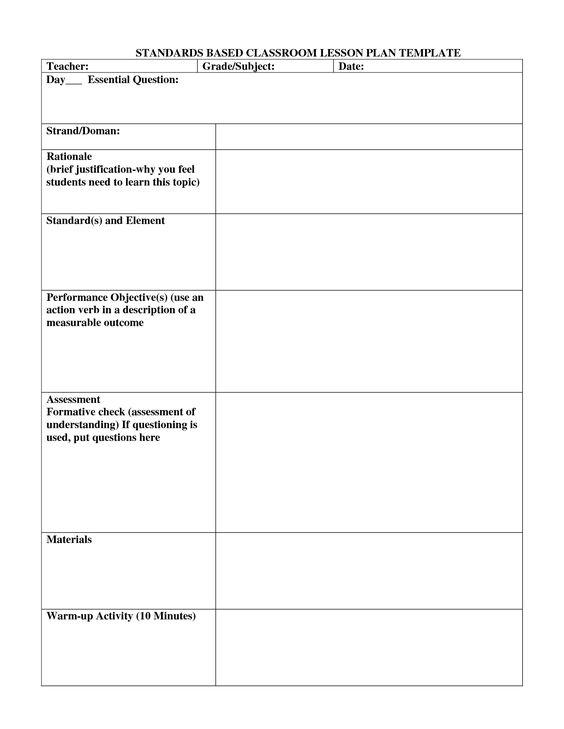 Standard Based Lesson Plans Template Standards based lesson - assessment plan template