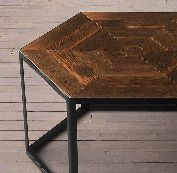 Hexagonal Azobe Wood Steel Coffee Table Laurier Pinterest We Hardware And Search