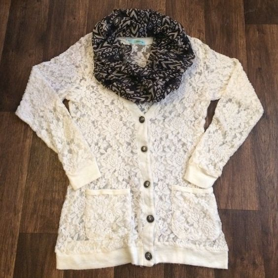 Ivory lace 3/4 Button Up Cardigan | Lace Button, Lace Cardigan and ...