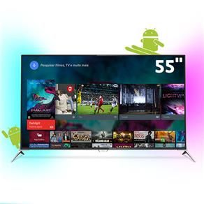 "Smart TV 3D LED 55"" Ultra HD 4K Philips 55PUG7100/78 com Ambilight, Android…"