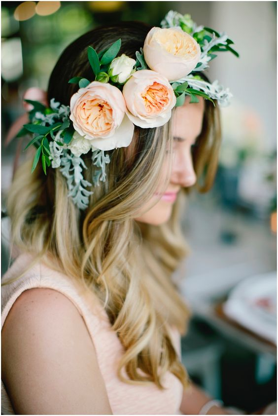 A beautiful styled bridal shoot // www.laceinthedesert.com // peach flowers // flower crown