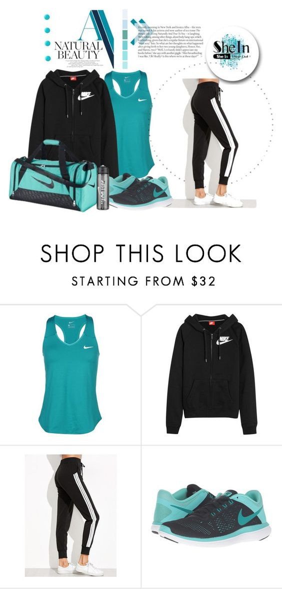 """""""SheIn Side Striped Sweat Pants"""" by lasvegasmjb ❤ liked on Polyvore featuring NIKE, Essie, Fall, Fall2016 and shein"""