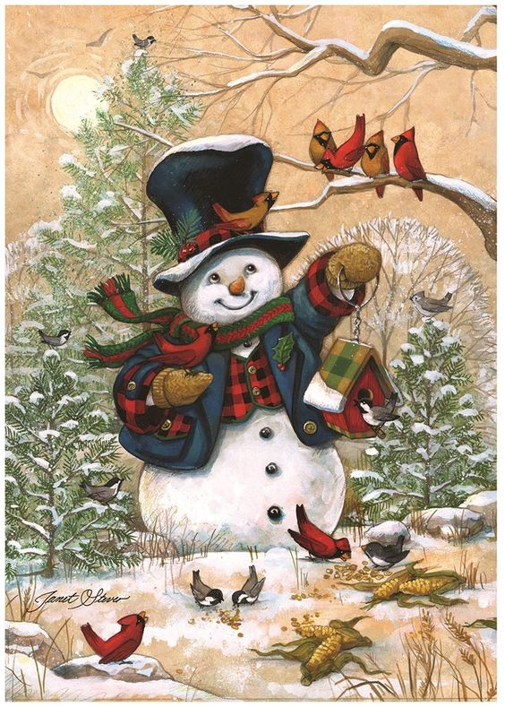 "$3.99 - Winter Friends Garden Flag Snowman & Cardinals Winter Seasonal Banner 12.5""X18"" #ebay #Home & Garden"
