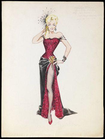 "Costume design sketch by Travilla for Marilyn Monroe in 'River of No Return"", 1954. Colección Maite Minguez Ricart."