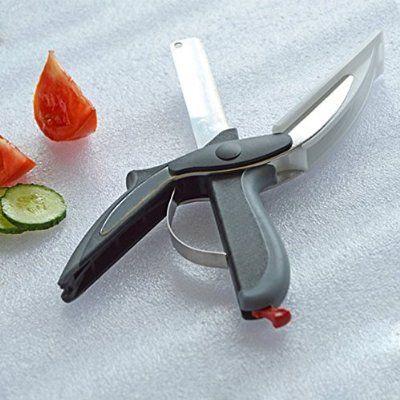 2 en 1 Couteau de cuisine et planche à découper de cuisine Ciseaux Cutter Outil de coupe légumes fruits