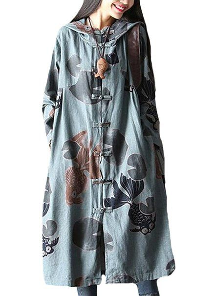 Minibee Women's Cotton Linen Button Detail Fish Print Hood Coat Gray