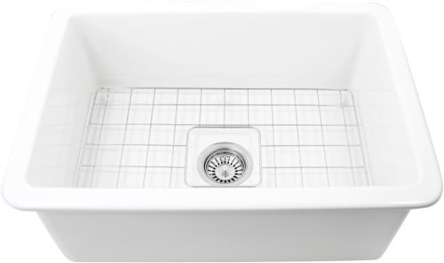 Nantucket Sinks Wellfleet2719w 27 Inch Undermount Fireclay Kitchen Sink With Fireclay Construction Porcelain Glaze Finish And Sink Grid Included Sink Grid Kitchen Sink Sink