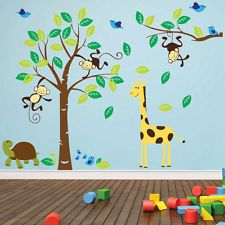 Monkey Tree Birds Animal Nursery Jungle Children Art Wall Stickers  Decals 53
