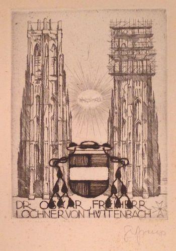 SEPP FRANK: Exlibris für Freiherr Lochner von Hüttenbach .